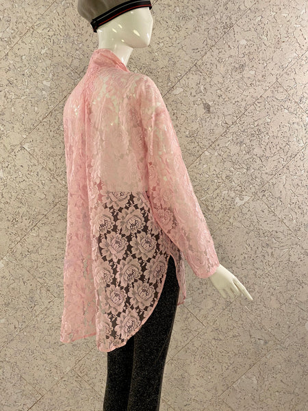 Vintage Pink Lace Over-sized Shirt