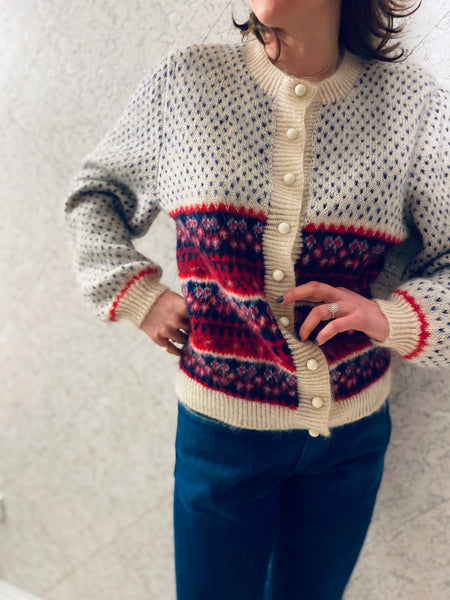Vintage Winter Snowflake Wool Cardigan