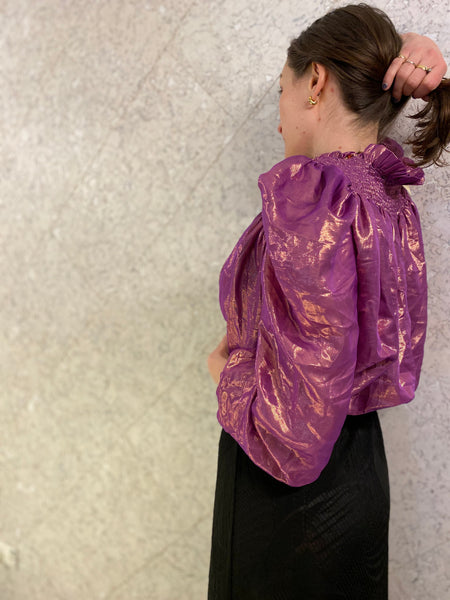 Magenta magic silk blouse with ruching