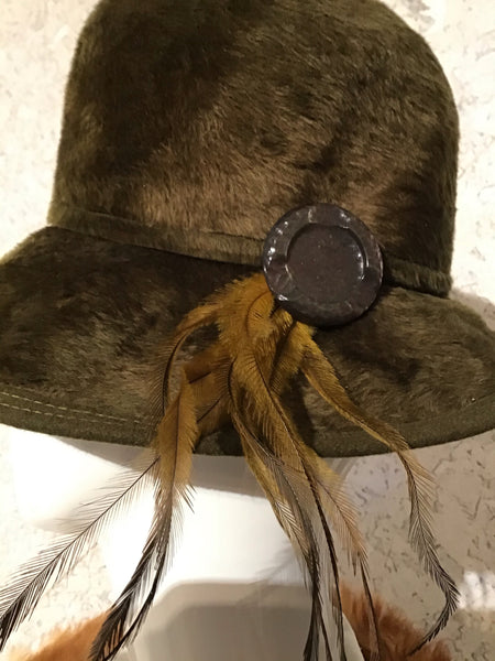 Soft and luscious handmade boho huntresses feathered olive green hat