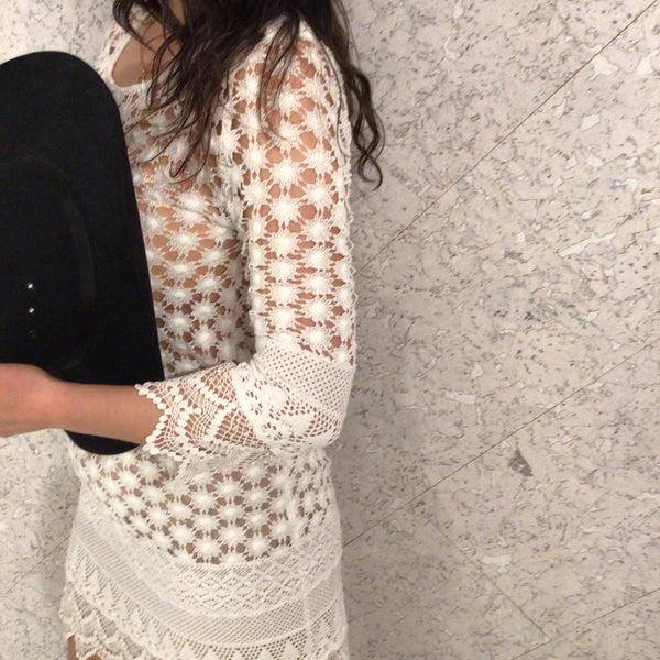 White Crochet Daisy Long-Sleeve Dress