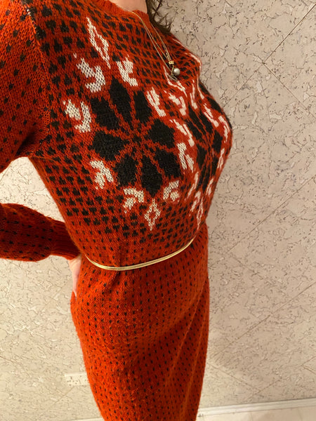Vintage French Festive Knit Dress
