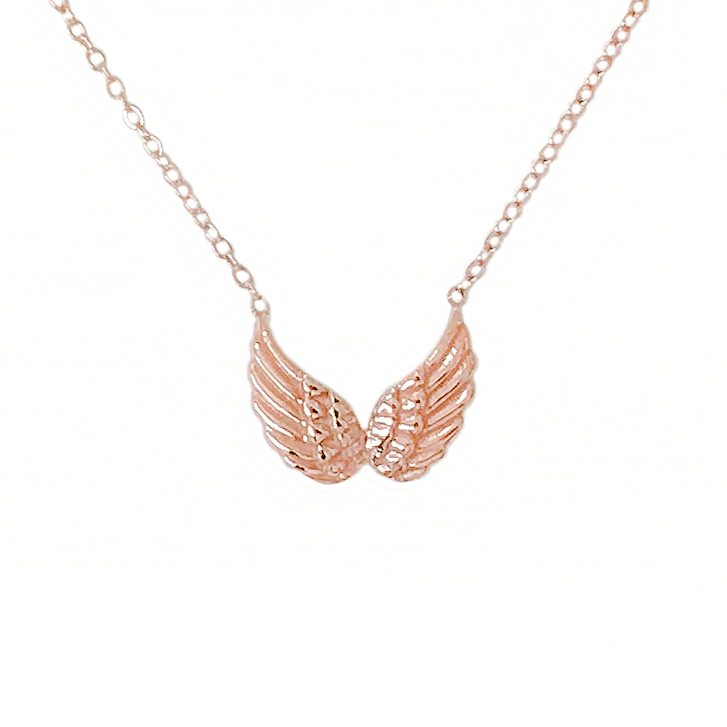 14K Gold Double Wing Necklace