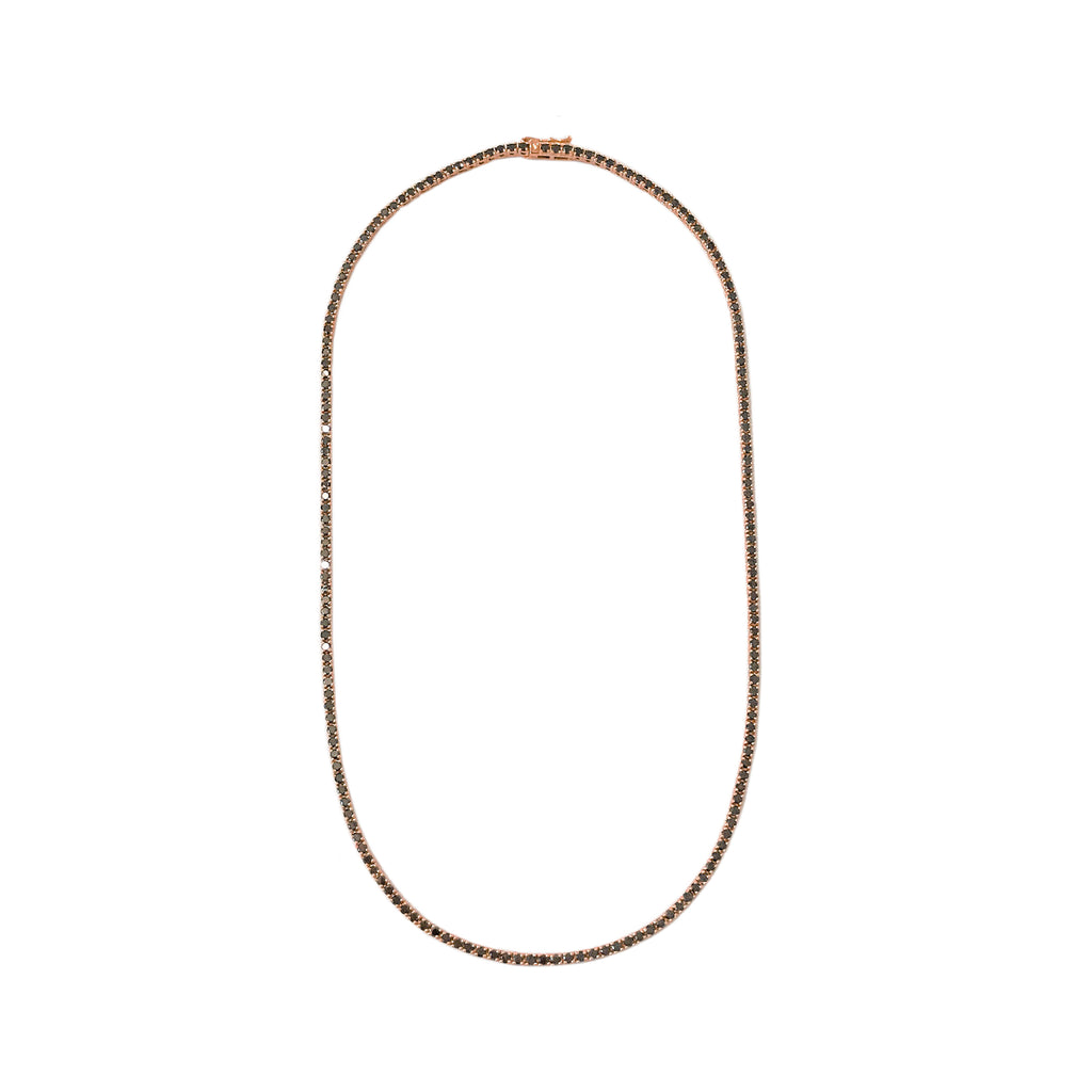 14K Gold & Black Diamond Tennis Necklace