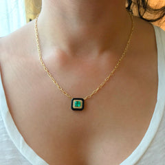 Emerald Solitaire Pavé Diamond & Black Onyx Inlay 18K Gold Necklace ~ LIMITED EDITION