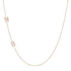 14K Gold Asymmetrical Diamond Double Initial Necklace