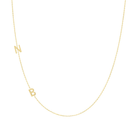 14K Gold Asymmetrical Double Initial Necklace
