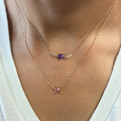 Pink Sapphire Heart Solitaire 14K Gold Double Arrow Necklace
