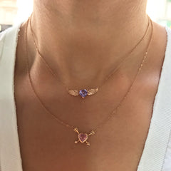 14K Gold Purple Sapphire Solitaire Flying Heart Necklace