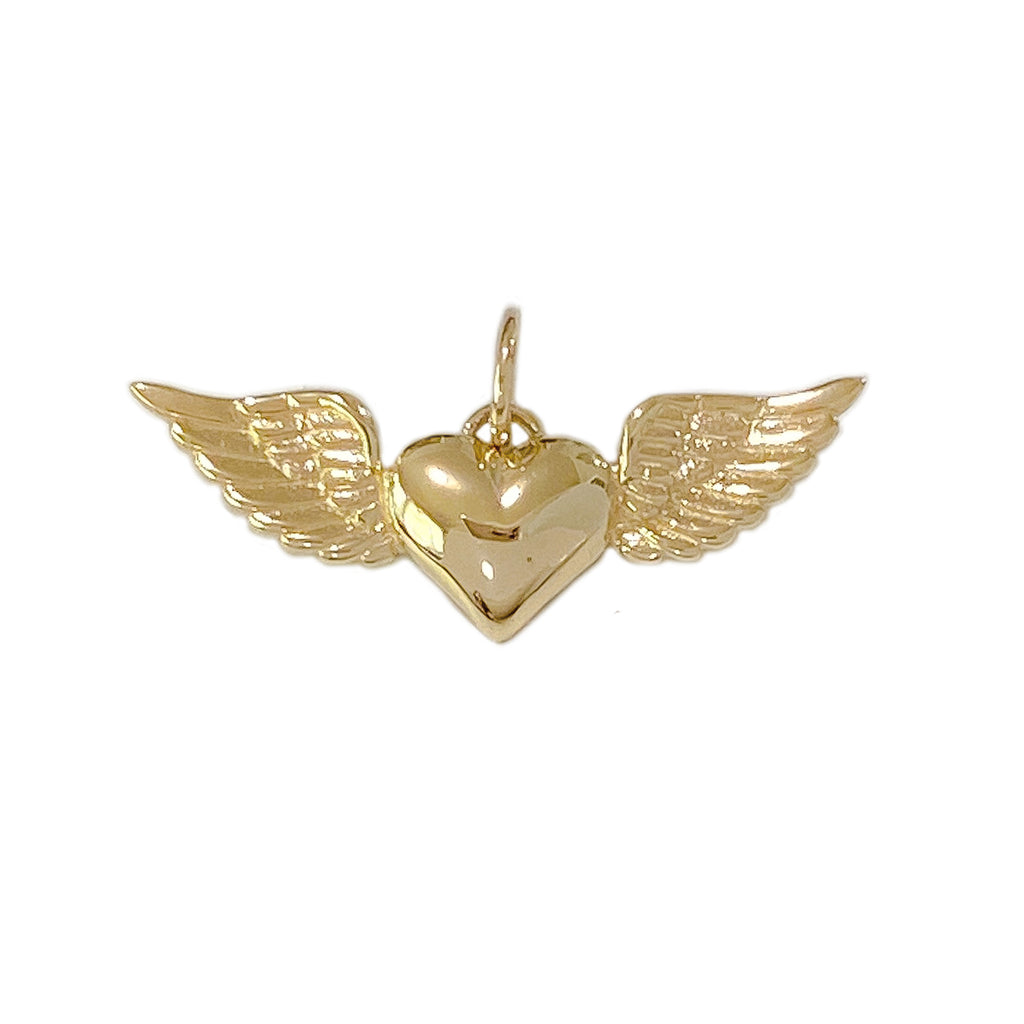 14K Gold Flying Heart Charm Pendant