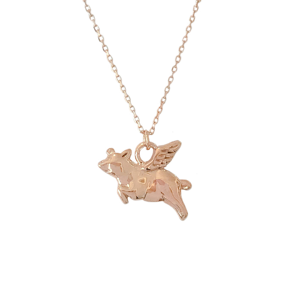 14K Gold Flying Pig Necklace