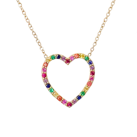 Rainbow Gemstone Heart Shape Frame 14K Gold Necklace, Medium Size