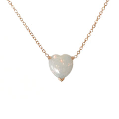 Opal Heart Solitaire 14K Gold Necklace