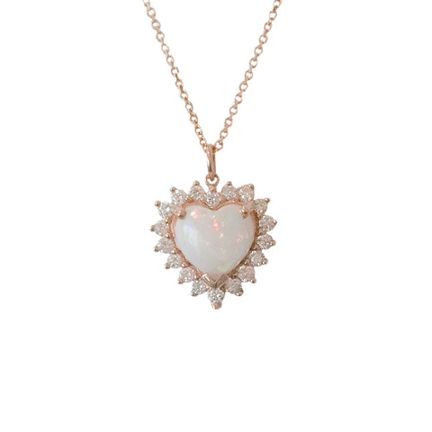 Opal & Diamond Halo Heart Solitaire 14K Gold Necklace