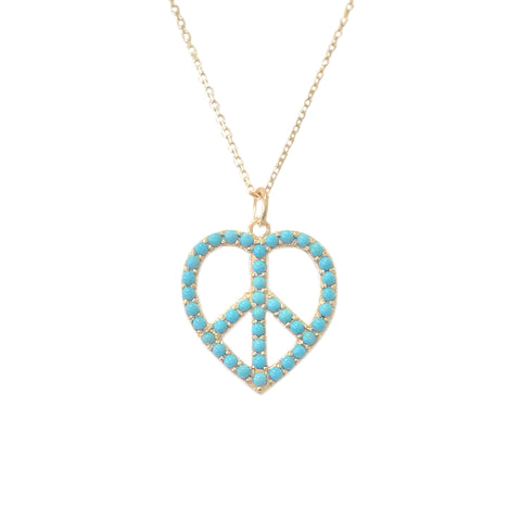 Pavé Turquoise Peace & Love 14K Gold Necklace ~ In Stock!