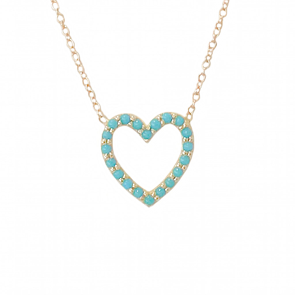 Turquoise Heart Shape Frame 14K Gold Necklace, Small Size – Nana Bijou
