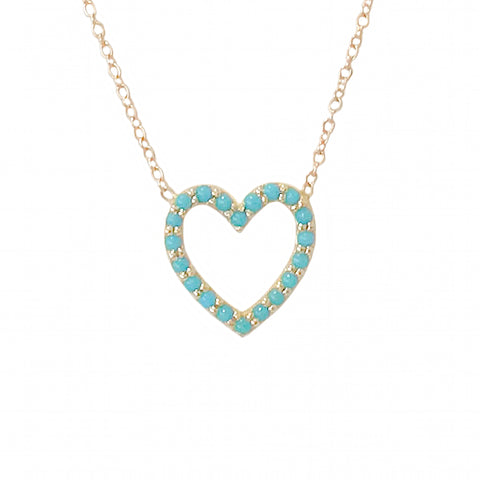 Turquoise Heart Shape Frame 14K Gold Necklace, Small Size