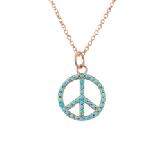 Turquoise Peace Sign Shape Frame 14K Gold Necklace, Small Size