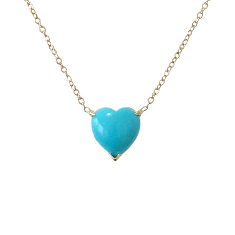 Turquoise Cabochon Heart Solitaire 14K Gold Necklace