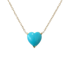 Turquoise Heart Solitaire 14K Gold Necklace