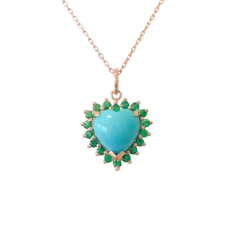 Turquoise & Emerald Halo Heart Solitaire 14K Gold Necklace