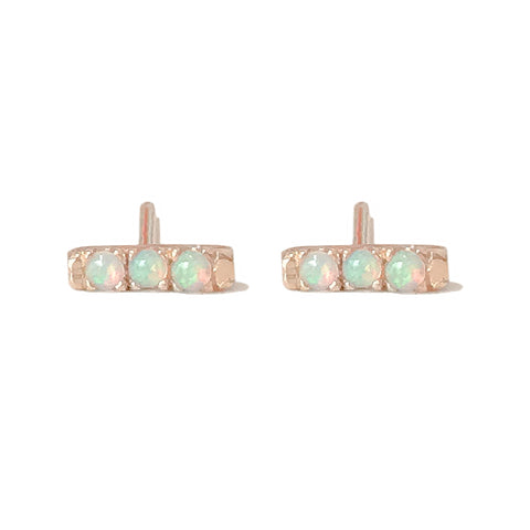 14K Gold XSmall Pavé Opal Bar Stud Earrings