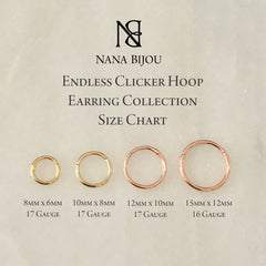 14K Gold Endless Clicker Huggie Hoop Earrings, 4 Size Options