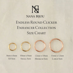 14K Gold Endless Clicker Thin Round Charm Enhancer, 4 Size Options