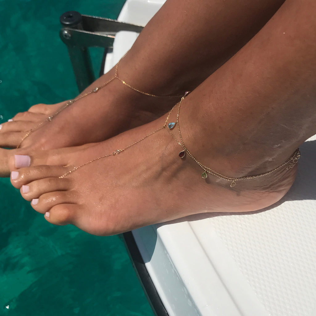 plated fashion anklets gold anklet chain beach ankle product foot jewelry hollow bracelet double layer water