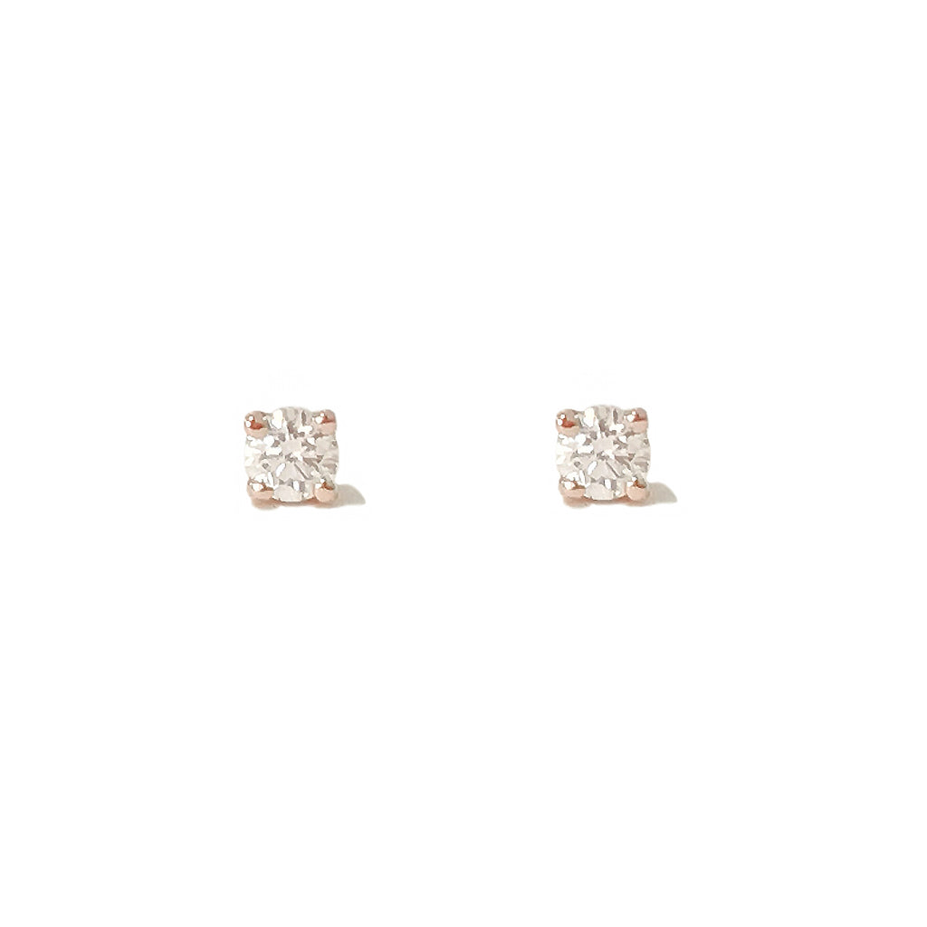 14K Gold 1mm Solitaire Diamond 4 Prong Stud Earrings
