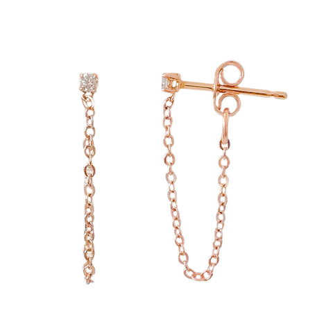 1mm Diamond Solitaire & 14K Gold Chain Dangle Stud Earrings