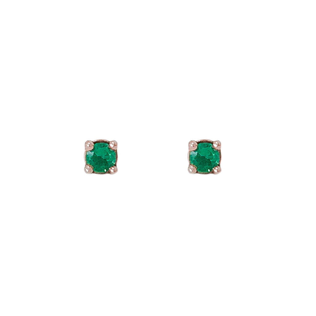 14K Gold 1mm Solitaire Emerald 4 Prong Stud Earrings