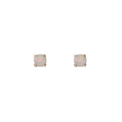 14K Gold 1mm Solitaire Opal 4 Prong Stud Earrings