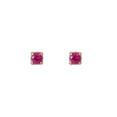 14K Gold 1mm Solitaire Ruby 4 Prong Stud Earrings