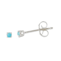 14K Gold 1mm Solitaire Turquoise 4 Prong Stud Earrings