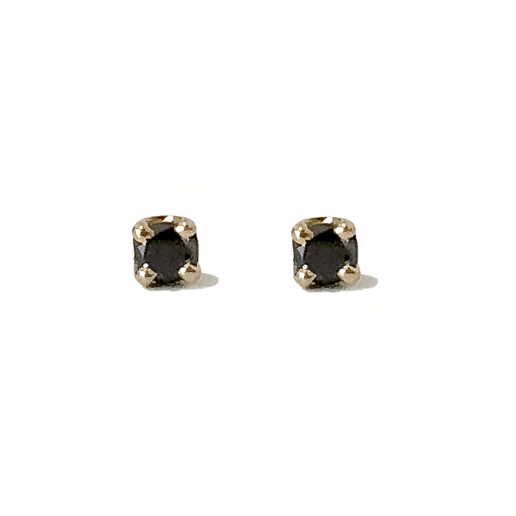 14K Gold 2mm Solitaire XS Black Diamond 4 Prong Stud Earrings