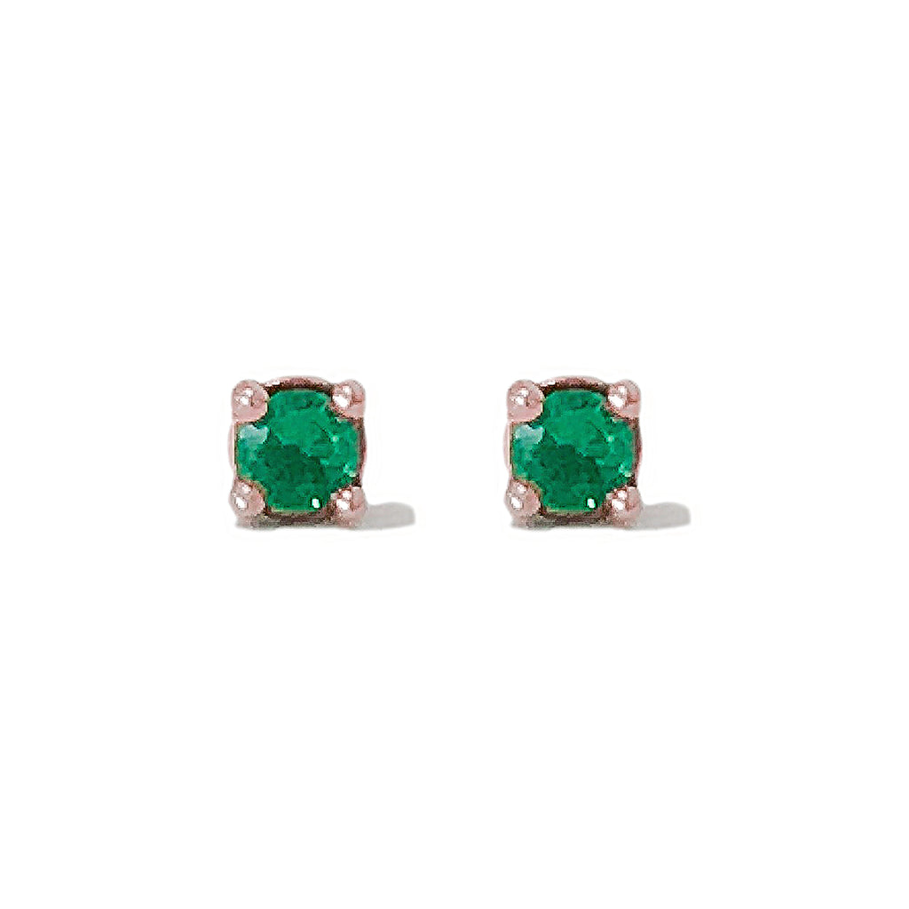 14K Gold 2mm Solitaire Emerald 4 Prong Stud Earrings ~ In Stock!