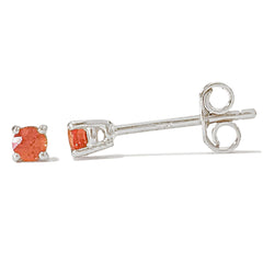 14K Gold 2mm Solitaire Orange Sapphire 4 Prong Stud Earrings