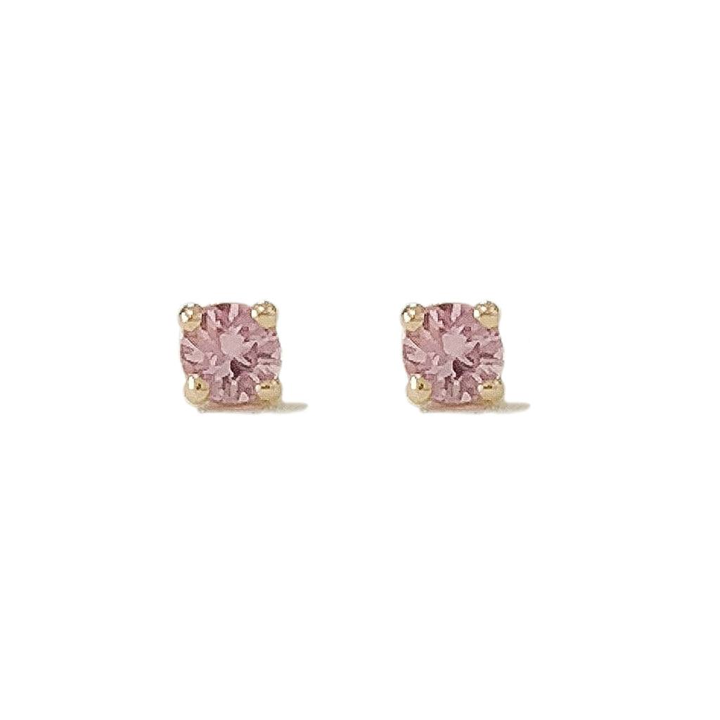 14K Gold 2mm Solitaire Pink Sapphire 4 Prong Stud Earrings