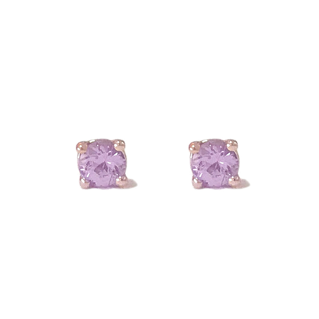 14K Gold 2mm Solitaire Purple Sapphire 4 Prong Stud Earrings