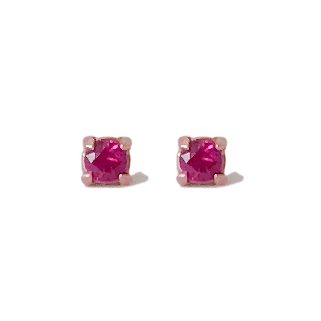 14K Gold 2mm Solitaire XS Ruby 4 Prong Stud Earrings