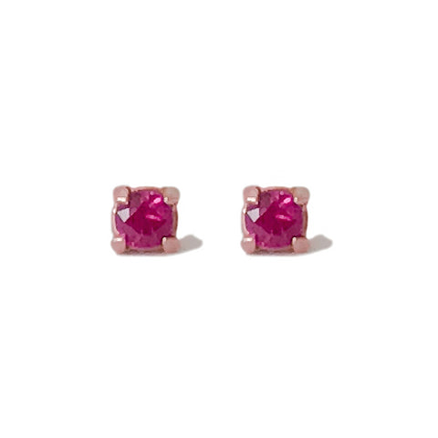 14K Gold 2mm Solitaire Ruby 4 Prong Stud Earrings ~ In Stock!