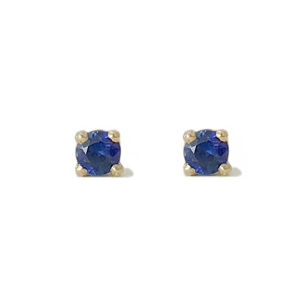 14K Gold 2mm Solitaire Sapphire 4 Prong Stud Earrings