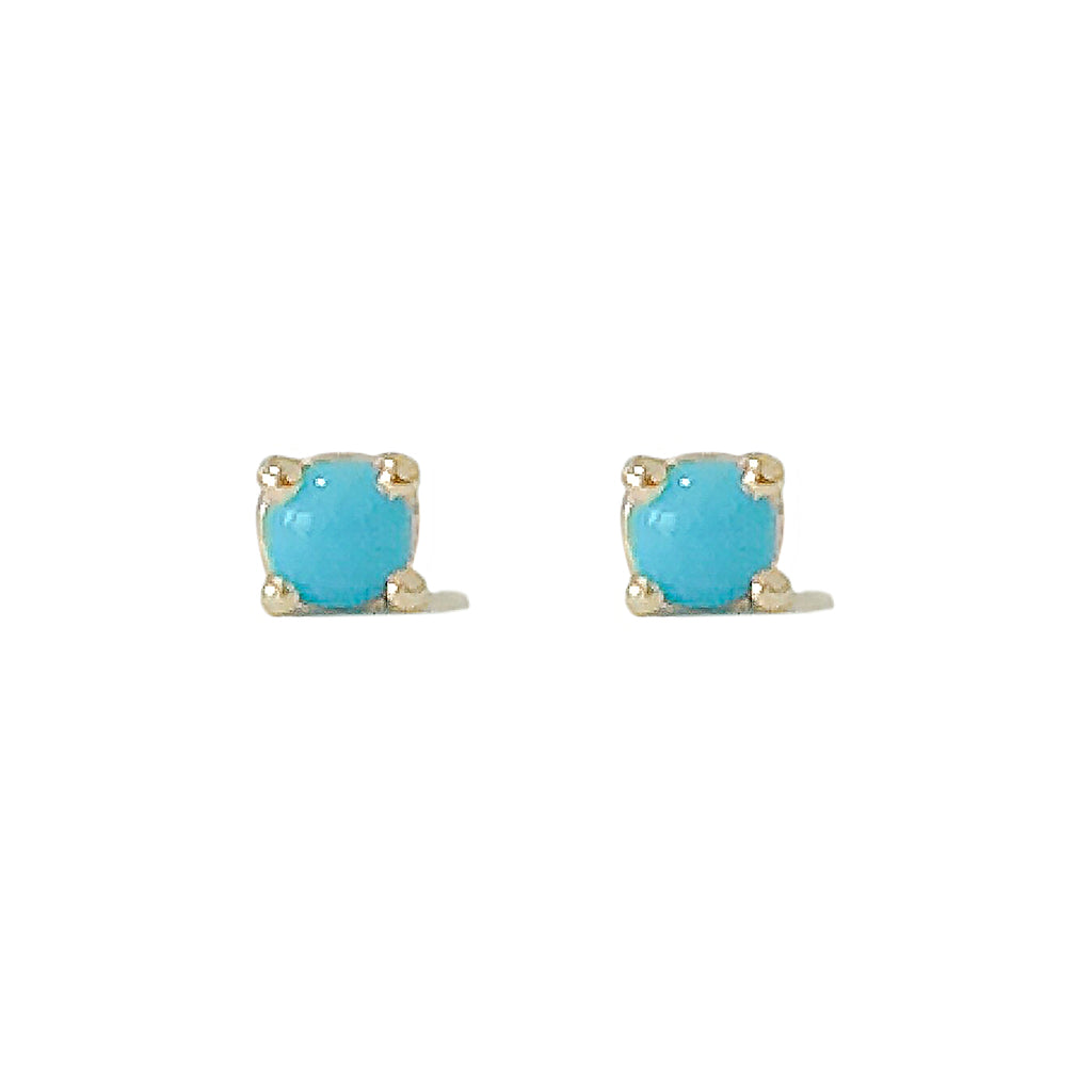 14K Gold 2mm Solitaire Turquoise Cabochon 4 Prong Stud Earrings