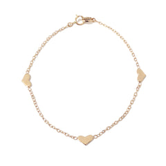 14K Gold Triple XS Sweetheart Bracelet