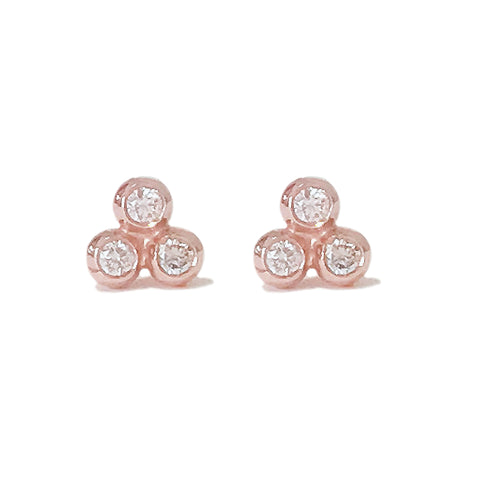 14K Gold & Diamond Trinity Ball Cluster Stud Earrings ~ In Stock!