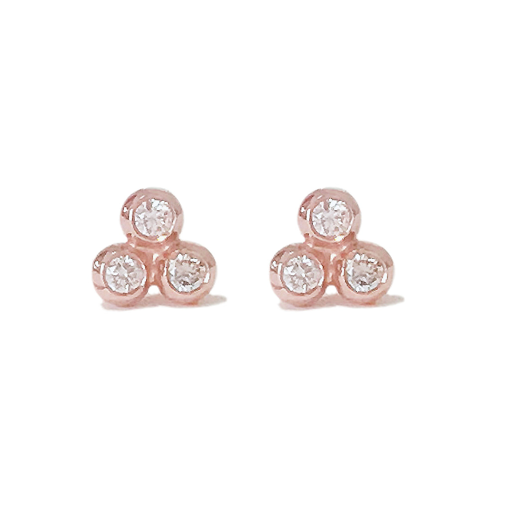 14K Gold Diamond Trinity Ball Cluster Stud Earrings