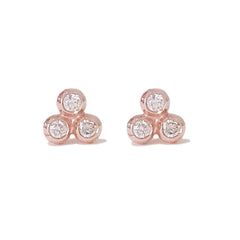 14K Gold & Diamond Trinity Ball Cluster Stud Earrings