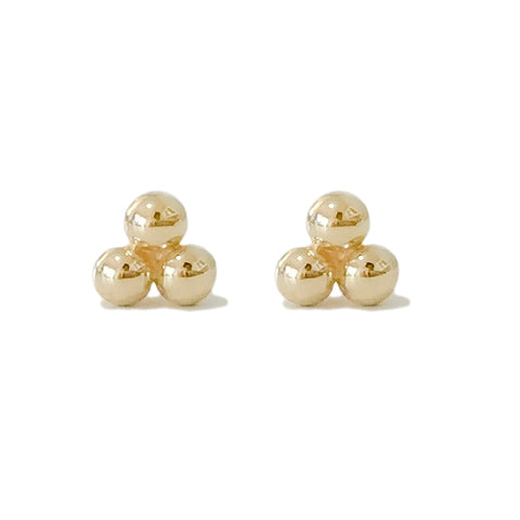 14K Gold Trinity Ball Cluster Stud Earrings