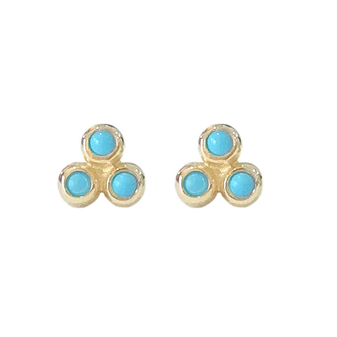 14K Gold Turquoise Trinity Ball Cluster Stud Earrings